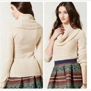 Angel of The North Cowl Neck Waffle Sweater Sz M